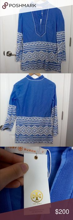 Tory Burch blue tunic Great summer piece to be worn with white jeans or a great bathing suit cover up! Feel free to make me an offer! Tory Burch Dresses