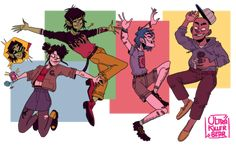 Local monkey band in outfits I want 💥 Sunshine In A Bag, Gorillaz Fan Art, Russel Hobbs, Monkeys Band, Solo Pics, Jamie Hewlett, My Hero Academia Manga, Aesthetic Photo, Cool Bands