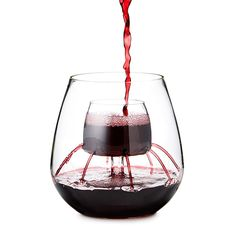 Stemless Fountain Aerating Wine Glass Set   wine tumblers   UncommonGoods