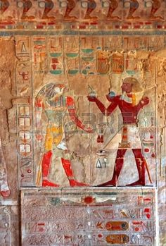 antiguo egipto imágenes en color en la pared en Luxor