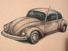 Crosshatching : VW Beetle | The Artwork of Kit Umscheid