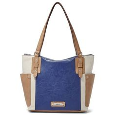 Relic Monroe Tote ($68) ❤ liked on Polyvore featuring bags, handbags, tote bags, dark blue, white purse, tote handbags, faux leather tote bag, white tote bag and hand bags