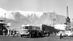 At The Cape Town Docks With Cloud-covered Table Mountain in the Background Old Pictures, Old Photos, Vintage Photos, Rochester Castle, Cities In Africa, Cape Town South Africa, Table Mountain, Most Beautiful Cities, African History