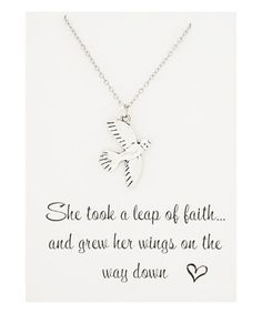 Silvertone Leaps of Faith Necklace & Card