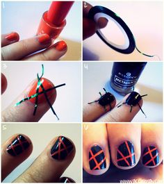 Striping Nailart Tutorial (Step-by-step) with english & italian description! http://www.accidiosav.com/2012/striping-nailart-tutorial/ #nailart #tutorial #manicure