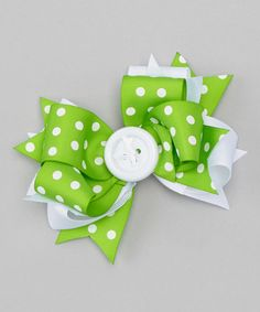 Look at this #zulilyfind! Apple Green Polka Dot Button Bow Clip by Payton Grace Bows #zulilyfinds