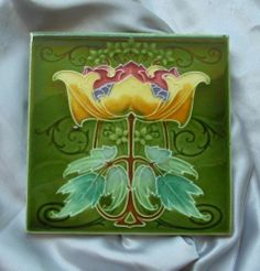 """Art Nouveau Tile... The most highly prized from Rhodes Tile Co c1908 see tile references 643/44/45 in the book """"Art Nouveau Tiles with more Style""""to see more colour ways used with this iconic design."""