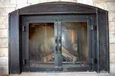 Radius look through mountain rustic fireplace doors with bronze patina finish Rustic Fireplace Screens, Fireplace Doors, Fireplace Built Ins, Cast Iron Fireplace, Rustic Fireplaces, Farmhouse Fireplace, Fireplace Ideas, Recessed Electric Fireplace, Bronze Patina