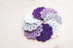 Set of 8 crochet flower appliques  White Lavender by SvetlanaN, $17.00