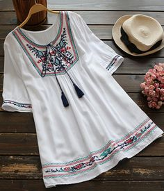 You look so cute in this ethnic dress! Get it with free shipping&easy retuirn Now! It is so sweet detailed with delicate embroidery/tie at collar. Collect the best dress at Cupshe.com