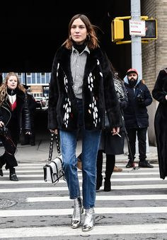 NEW YORK, NY - FEBRUARY 13:  Alexa Chung is seen outside of the Proenza Schouler show during New York Fashion Week: Women's Fall/Winter 2017 on February 13, 2017 in New York City.  (Photo by Daniel Zuchnik/Getty Images) via @AOL_Lifestyle Read more: https://www.aol.com/article/lifestyle/2017/02/14/nyfw-street-style-day-5/21713878/?a_dgi=aolshare_pinterest#fullscreen