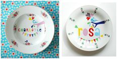 On Etsy: Nina Invorm personalized plates print modern graphics over vintage dishes.