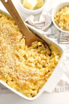 The Best Homemade Mac and Cheese uses 2 soft white cheeses making it extra creamy with a crunchy breadcrumb topping | http://foodiecrush.com