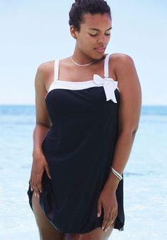 2a371a9bbe8f9 Roamans Side Bow Swimdress Swimsuit Swim Wear Womens Plus Size 30W  roamans   OnePieces Full