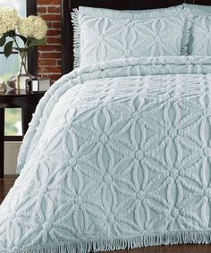 Loving this Pearl Blue Arianna Bedspread Set on #zulily! #zulilyfinds ($85) I like the blue also!
