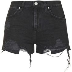TopShop Moto Washed Black Ripped Rosa Shorts (610 ARS) ❤ liked on Polyvore featuring shorts, bottoms, pants, short, washed black, topshop shorts, distressed shorts, torn shorts, short shorts and ripped shorts