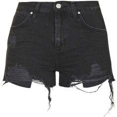 TopShop Moto Washed Black Ripped Rosa Shorts ($35) ❤ liked on Polyvore featuring shorts, bottoms, pants, short, washed black, mid rise shorts, destroyed shorts, torn shorts, ripped short shorts and distressed shorts