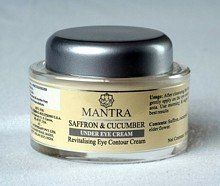 Saffron & Cucumber Under Eye Cream by Mantra Herbal Solutions. $28.99. Saffron and Cucumber eye cream is an anti-wrinkle treatment enriched with the natural extracts of Apricot and Almond - both known for their moisturizing and regenerative properties. Blended with extracts of Cucumber, Fennel, and Lemon - all renowned for their clarifying and skin toning qualities - this cream can produce dramatic results within weeks. The inclusion of Sesame Oil helps brighten your compl...
