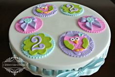 Cupcake Gallery - Kristen's Cake Creations - Girly owl 2nd birthday fondant cupcake toppers