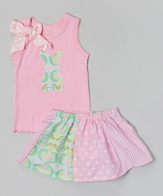 Loving this Pink & Aqua Polka Dot Bunny Tank & Skirt - Toddler & Girls on #zulily! #zulilyfinds