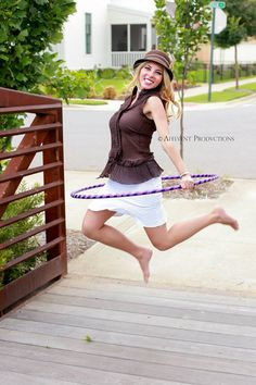 Katie Sunshine jumps for joy with her hoop in a photoshoot with photographer Josh McCrary of Affluent Productions in Conway, Arkansas, USA. Hula Hooping, Dance Tips, Jumping For Joy, Dance Photos, Pictures Of People, Joyful, Amanda, Flow, Sunshine