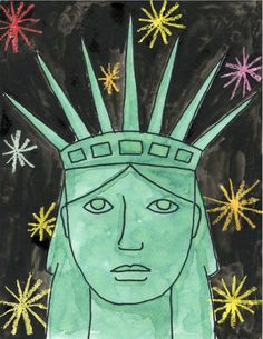 Lady Liberty Portrait – Art Projects for Kids Kindergarten Art Projects, School Art Projects, American Symbols, American Art, Statue Of Liberty Drawing, Arte Elemental, 2nd Grade Art, Middle School Art, Art Classroom