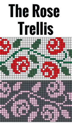 Rose Trellis chart for hand or machine knitting. Free chart for rose trellis