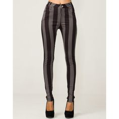 Motel Jordan Skinny Jean in Charcoal and Black Stripe via Polyvore