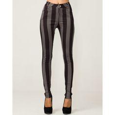 Motel Jordan Skinny Jean in Charcoal and Black Stripe via Polyvore