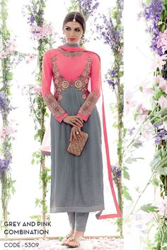 Blissful Grey And Pink Cotton Satin Embroidery Work Churidar Suit. Buy Churidar Suit In Qatar. Latest Salwar Kameez, Churidar Suits, Salwar Dress, Pink Grey, Pink Color, Gray, Satin Color, Indian Dresses, Indian Outfits