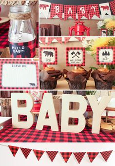 Lumberjack Baby Shower Decorations rustic plaid by CoralBalloon