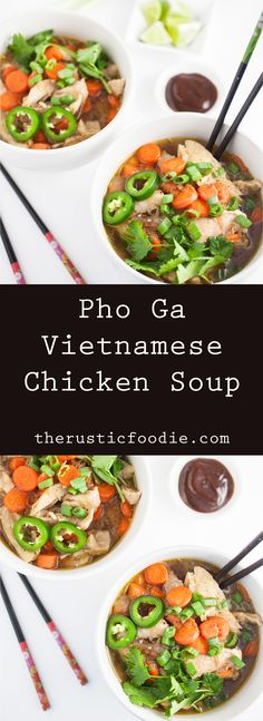 Pho Ga Vietnamese Chicken Soup - A rustic and fragrant Pho Ga Vietnamese Chicken Soup recipe that hits all the flavor high notes. The aromatic broth is sweet, savory, and a little spicy!(Rustic Chicken Stew)