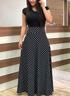 Long maxi dress with black short sleeves and white polka dots design. Such a cut… Long maxi dress with black short sleeves and white polka dots design. Such a cute and safe outfit! Trendy Dresses, Nice Dresses, Casual Dresses, Short Dresses, Fashion Dresses, Dresses For Ladies, Casual Clothes, Ladies Skirts, 1950s Dresses