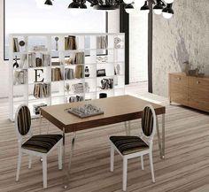 Mesa de madera para salón con patas de acero