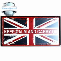 "Vintage Car Plate ""KEEP CALM AND CARRY ON"" Wall Art Craft Vintage Iron Metal Painting for Bar Decor Vintage Metal Signs"