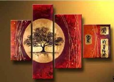 4 pc Asian art style Modern Abstract Art Oil Painting Wall Decor canvas NO frame(China (Mainland))