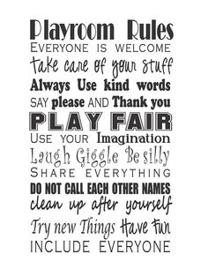 PLAYROOM RULES by GaGaGallery on Etsy, $12.00