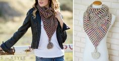 Knit Pointed Infinity Scarf with Pom-Pom in 4 Colors!   Jane