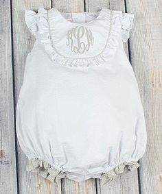 6e536af659988 Look at this Stellybelly White & Gray Jordan Monogram Bubble Romper -  Infant &