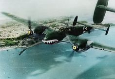 Messerschmitt Bf-110 C-4 (M8+EP) of II/ZG76, the 'Haifisch (shark) Gruppe'. (Based at Abbeville and Le Mans) Flying over the English coast during the 'Battle of Britain', August 1940. (Colorised by Tom Thounaojam)