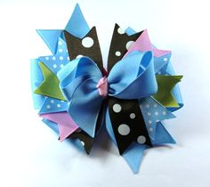 Boutique Pink Blue  Hair Bow Clip Hair Bow by prettybowtique on Etsy