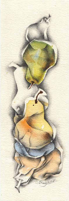 Watercolor pear painting, abstract fruit painting, still life. Yellow pear art for kitchen