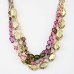 Layered Gold and Pink Bead Necklace - Buy From ShopDesignSpark.com