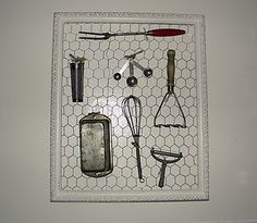 chickenwire/old utensils  pan covers cute idea for antique kitchen utensils that you want to display