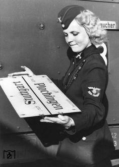 Woman from Deutsche Reichsbahn 1940 in Stuttgart.