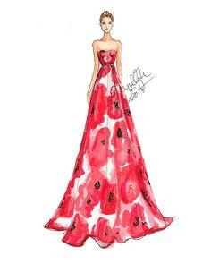 Ilustração fashion, croqui de moda. Vestido tomara que caia longo vermelho estampado.