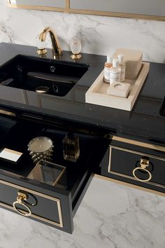 Lutetia collection of luxury bathroom furniture by Oasis Lutetia collection with undercounter black ceramic washbasin Bathroom Design Luxury, Modern Bathroom Decor, Bathroom Furniture, Luxury Kitchen Design, Dream Home Design, Home Interior Design, Luxury Home Decor, Luxury Homes, Washbasin Design