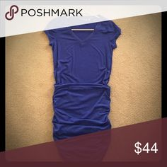 Athleta blue short sleeve v-neck scrunch dress Worn once. Short sleeve scrunch dress, great condition Athleta Dresses Mini