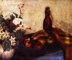 The Athenaeum - Still LIfe of Flowers in a Bowl, Fruit and a Glass Bottle (Alfred Henry Maurer - )