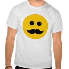 Yellow Mustache Smiley Emoticon T Shirts by TIgerLynx, from Zazzle. Also available on other products.